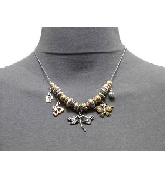 JCBid.com Beautiful-Dragonfly-Necklace-with-Silver-and-Gold-tone