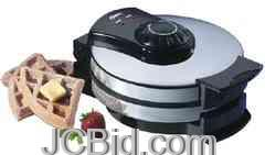 JCBid.com Oster-Belgian-Wafflemaker-Chrome-with-Black-Handles-