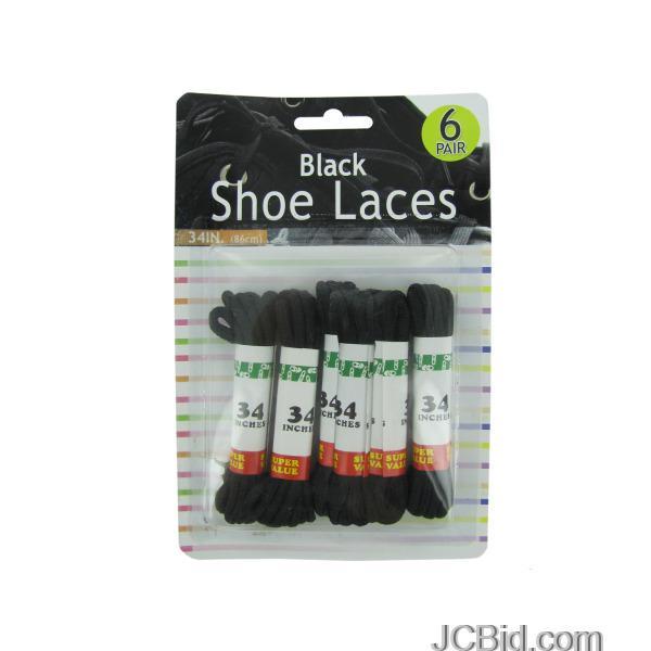 JCBid.com Black-Shoe-Laces-display-Case-of-72-pieces