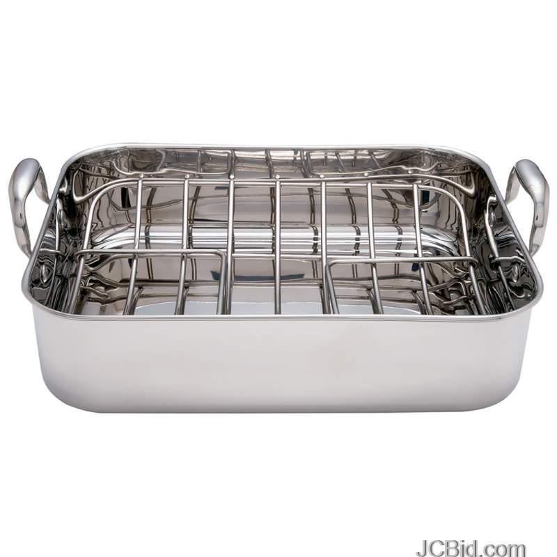 JCBid.com Chefs-Secret-T304-Stainless-Steel-Rectangular-Roaster-with-Rack-