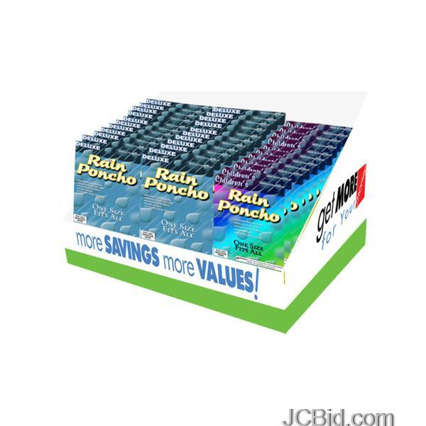 JCBid.com Adult-amp-Children039s-Rain-Ponchos-Countertop-Display-display-Case-of-72-pieces