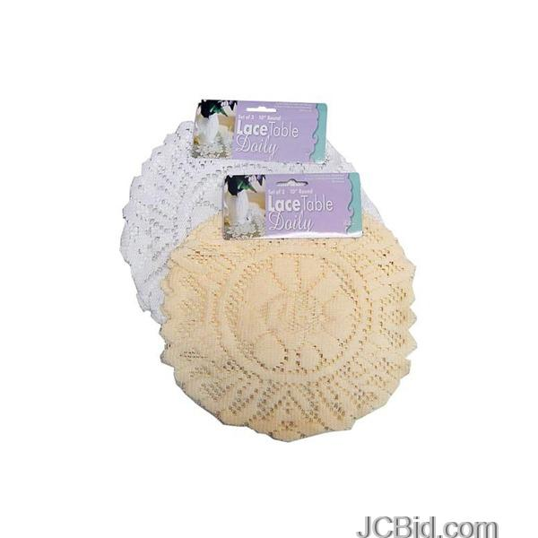 JCBid.com White-Round-Lace-Table-Doily-Set-display-Case-of-96-pieces