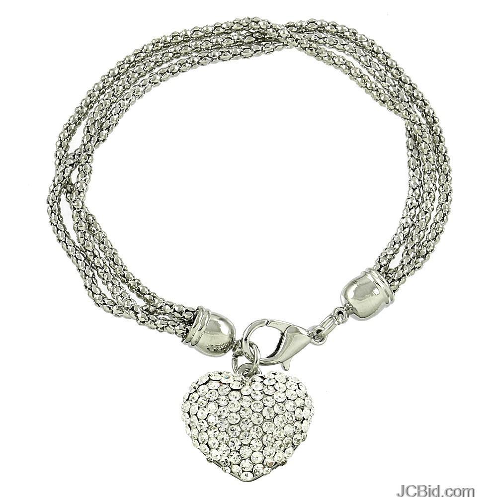 JCBid.com 3-Strand-Silver-Tone-Bracelet-with-Crystal-Heart-Charm