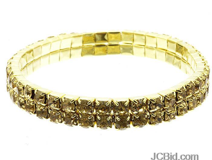 JCBid.com 2-Row-Crystal-Bracelet-Topaz