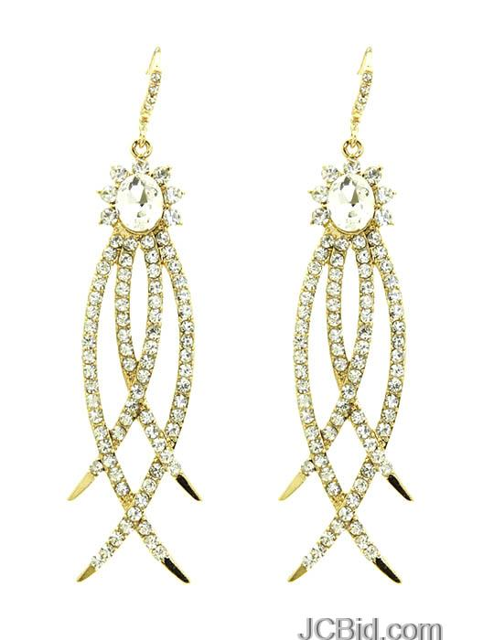 JCBid.com Silver-or-Goldtone-Crystal-stone-earring-with-Claws