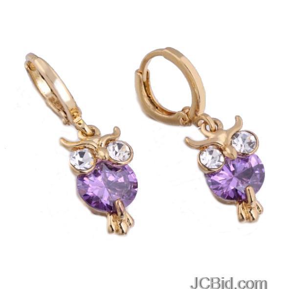 JCBid.com Owl-CZ-Earrings-18K-Gold-Plated