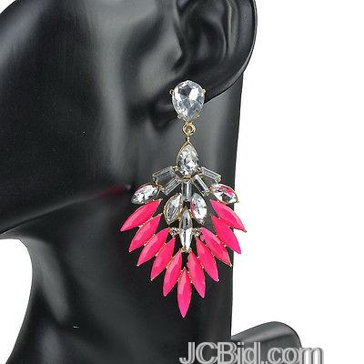 JCBid.com Crystal-dangle-earrings-in-shocking-pink-color