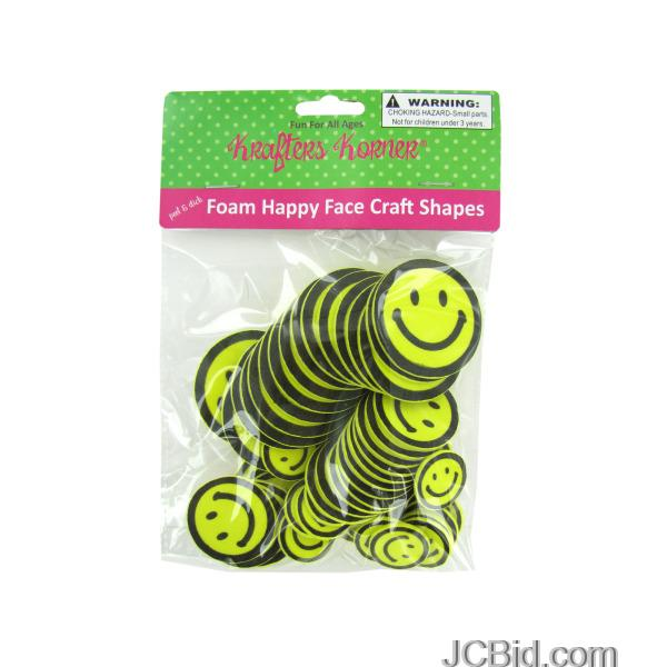 JCBid.com Peel-amp-Stick-Foam-Happy-Face-Craft-Shapes-display-Case-of-96-pieces