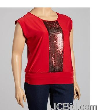 JCBid.com Sequin-Front-Top-Plus-Size-your-choice-of-Red-or-Blue-color