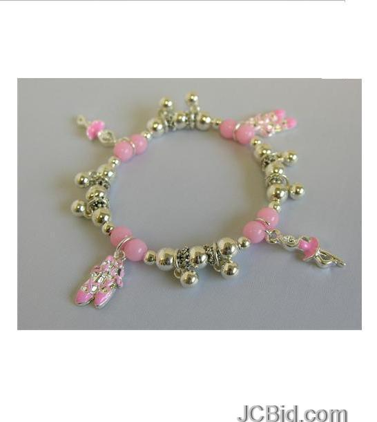 JCBid.com Pink-and-silver-Charm-Bracelets-for-Kids