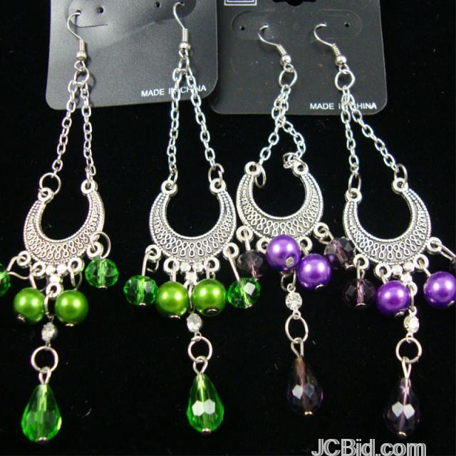 JCBid.com 3quot-Silver-Chandelier-Style-Earring-w-Colored-Beads