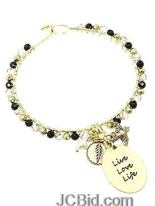 JCBid.com Black-Charm-Bracelet-Live-Love-Laugh