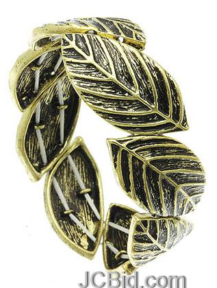 JCBid.com Antique-Gold-Metal-Leaf-Bracelet