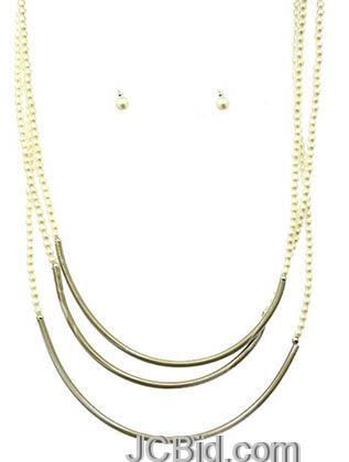 JCBid.com 3-layer-Chain-necklace-Silver-tone