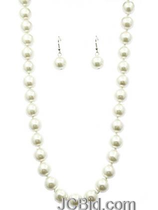 JCBid.com White-Colored-58-Long-Pearl-Necklace-set