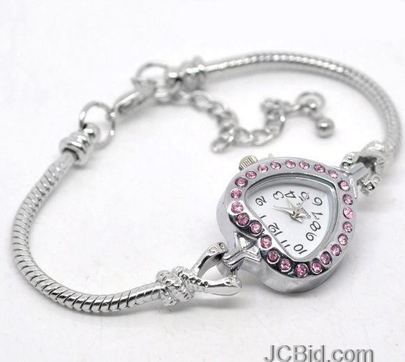 JCBid.com Heart-Watch-Bracelet-for-Beading-Europeaon-Style
