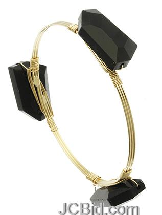 JCBid.com Wired-Black-Stone-Bracelet