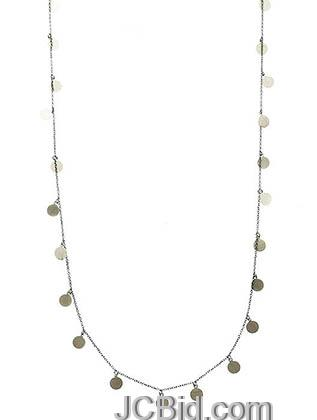 JCBid.com Long-Sequin-Necklace-Silver-tone