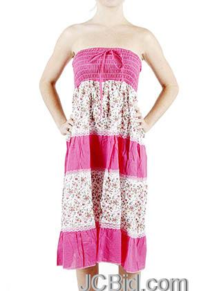 JCBid.com Hot-pink-Lace-and-Flower-Print-Sundress