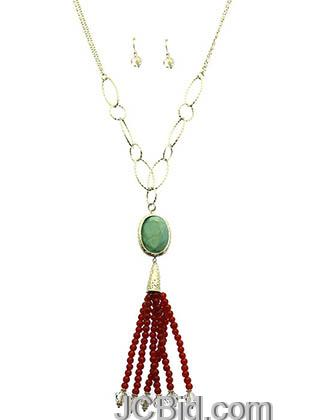 JCBid.com Faceted-Stone-Tassel-Necklace-Brown-Burgundy