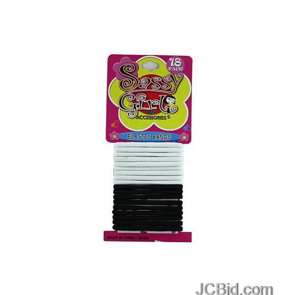 JCBid.com Black-amp-White-Hair-Bands-Set-Case-of-96-pieces