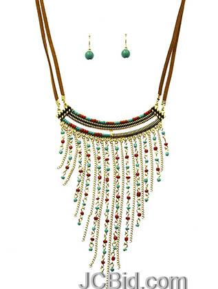 JCBid.com Suede-cord-and-Seed-bead-necklace-set-brown