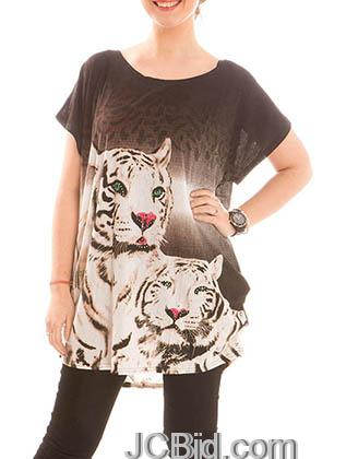 JCBid.com Loose-Top-with-White-Tiger-Print-Brown