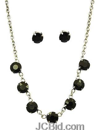 JCBid.com Faceted-Stone-Necklace-and-Earring-set-Black