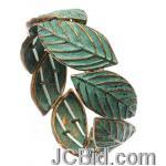 JCBid.com Antique-Gold-Blue-Metal-Leaf-Bracelet