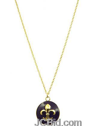 JCBid.com Fleur-De-Lis-Pendant-Necklace