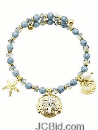 JCBid.com Blue-Starfish-shell-crystal-bracelet