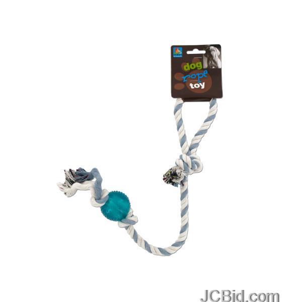 JCBid.com Dog-Rope-Toy-with-Plastic-Ball-display-Case-of-72-pieces