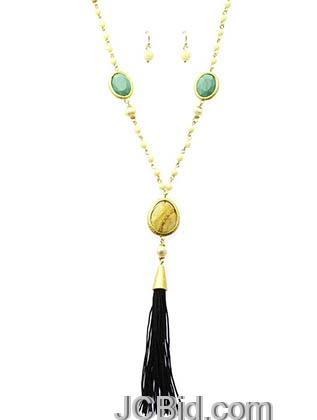 JCBid.com Beaded-Necklace-with-Natural-Stone-Black