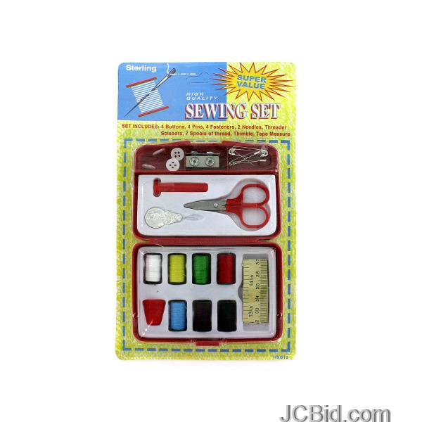 JCBid.com Compact-Sewing-Kit-display-Case-of-48-pieces