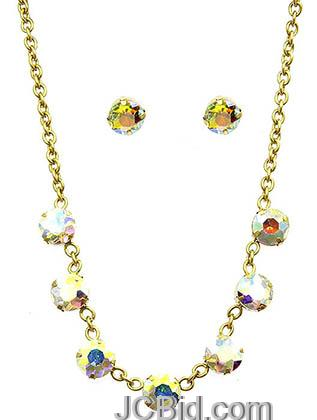 JCBid.com Faceted-Stone-Necklace-and-Earring-set-white-multi
