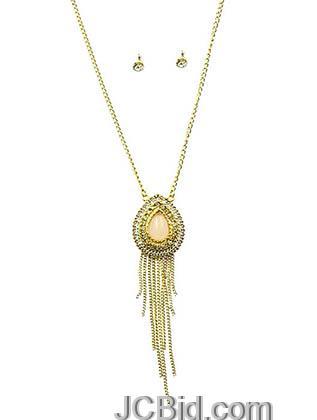 JCBid.com Teardrop-Pendant-Necklace-Set-Peach
