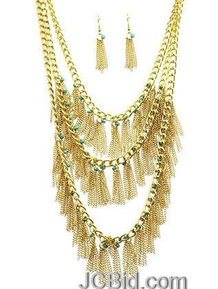 JCBid.com Multi-layered-fringe-style-necklace