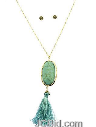 JCBid.com Natural-Stone-Tassel-Necklace-Blue