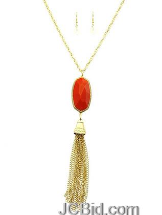 JCBid.com Faceted-Stone-Tassel-Necklace-Red