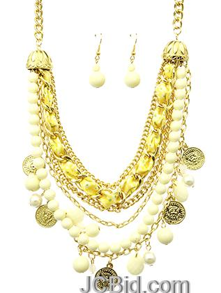 JCBid.com Golden-beads-and-Pearls-multi-layered-necklace-set