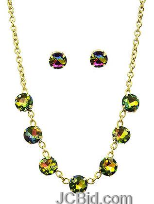 JCBid.com Faceted-Stone-Necklace-and-Earring-set-Greenish-Red