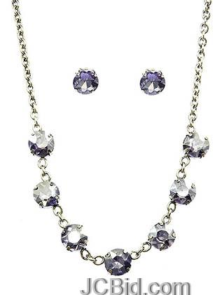 JCBid.com Faceted-Stone-Necklace-and-Earring-set-Clear-Crystals