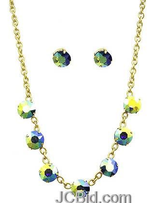 JCBid.com Faceted-Stone-Necklace-and-Earring-set-Green-yellow