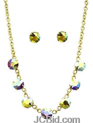 JCBid.com Faceted-Stone-Necklace-and-Earring-set-white-blue