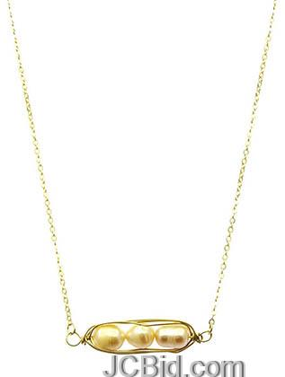 JCBid.com Gold-Freshwater-Pearl-Coil-Necklace