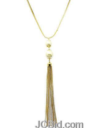 JCBid.com Tassle-Metal-Chain-Necklace-Gold