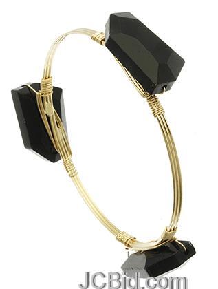 JCBid.com Wired-Black-Stone-Bracelet