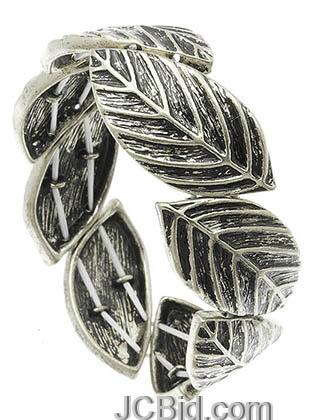 JCBid.com Antique-Silver-Metal-Leaf-Bracelet