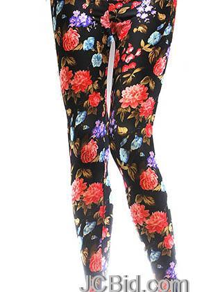 JCBid.com Flower-print-legging-orange