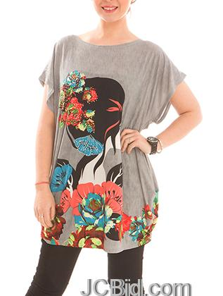 JCBid.com Loose-Top-with-Flower-and-Butterfly-Print-Grey